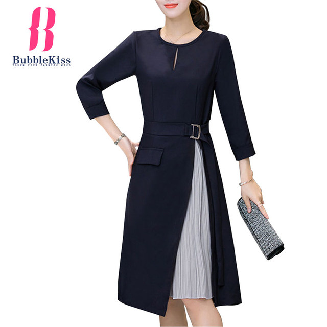 Long Sleeve Patchwork Skater Dresses Autumn Winter Spring Casual A Line Dress Fake Two Pieces Sashes Women Work Office Dress