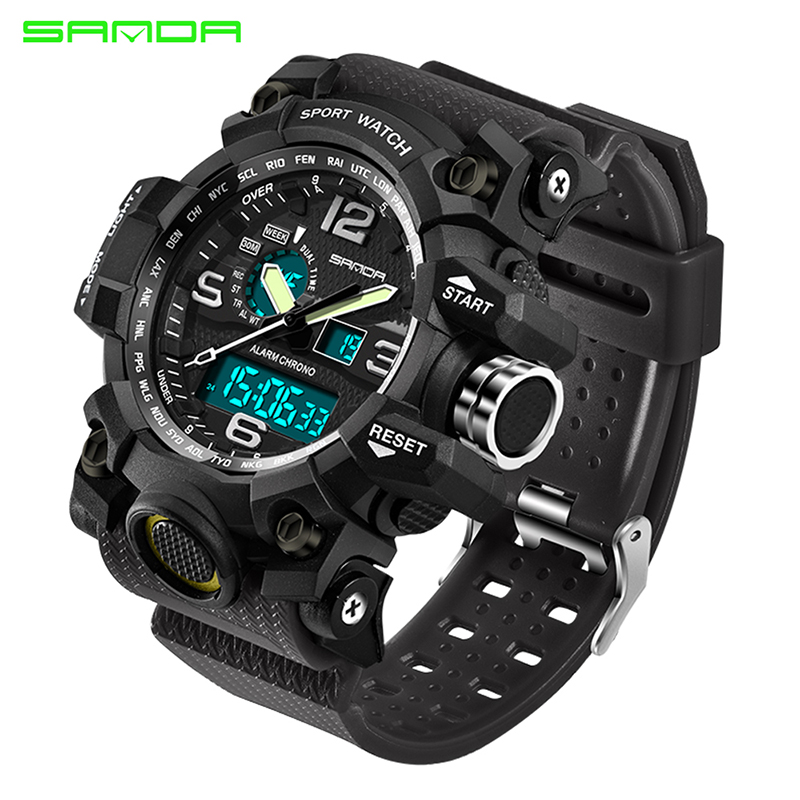 2017 SANDA Men's Military Sport Watch Men Top Brand Luxury Famous Electronic LED Digital Wrist Watch Male Relogio Masculino 742 new military sport watch men top brand luxury waterproof electronic led digital wrist watch for men male clock relogio masculino