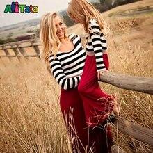 Mère Fille Robes De Mode À Manches Longues Rayé Famille Look Vêtements Assortis Coton Maman Et Fille Robe Vêtements Pour La Famille 6