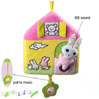 Happymonkey Baby Music Toys Cars House Rattles With BB Device Mirror Toys Infant Plush Toys Wholesale
