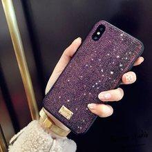 Luxury Brand 3D Metal Letter Label Glitter Diamond soft bling phone case
