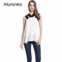 Ailunsnika Sexy Blusas 2017 Women Fashion Casual Chiffon Blouse Off Shoulder Sleeveless Summer Tops White Beach