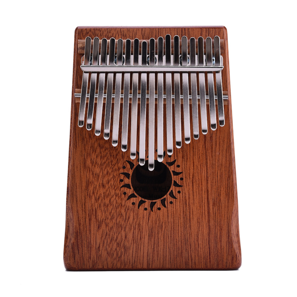 17 Key Kalimba Mahogany Thumb Piano Mbira Natural Mini Keyboard Instrument (With Tuner Hammer + Stickers + manual + Song Book) irin professional mini 17 key accordion educational keyboard musical instrument for both kids