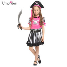 Umorden New Arrival Halloween Costumes for Girls Pink Skull Pirate Costume Party Carnival Fancy Dress Girl Kids