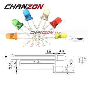 Диодный диодный светодиод, 3 мм, белый, красный, зеленый, синий, желтый, оранжевый, 20 мА, 3 В, 3 мм, DIY лампа, набор в комплекте