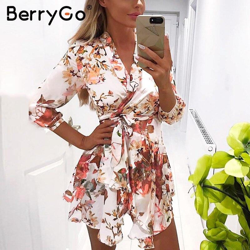BerryGo Sash wrap font b long b font sleeve satin summer font b dress b font