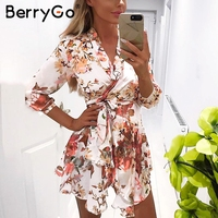 BerryGo Sash wrap long sleeve satin summer dress Women floral print spring dress female Streetwear causal dress robe femme 2018