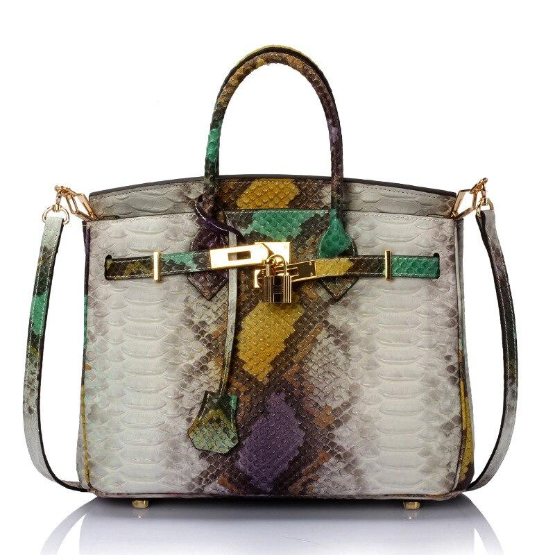 Serpentine Platinum Leather Bag Large Bag European And American Fashion Trend Female Shoulder Portable Bag A2475