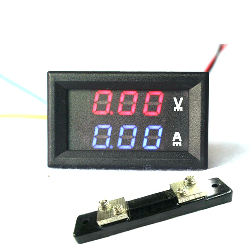 """0.28"""" DC 0-100V/50A Red Blue Digital Voltmeter Ammeter <font><b>2</b></font> in <font><b>1</b></font> DC Volt Amp Meter With 50A/75mV Ampere Shunt"""