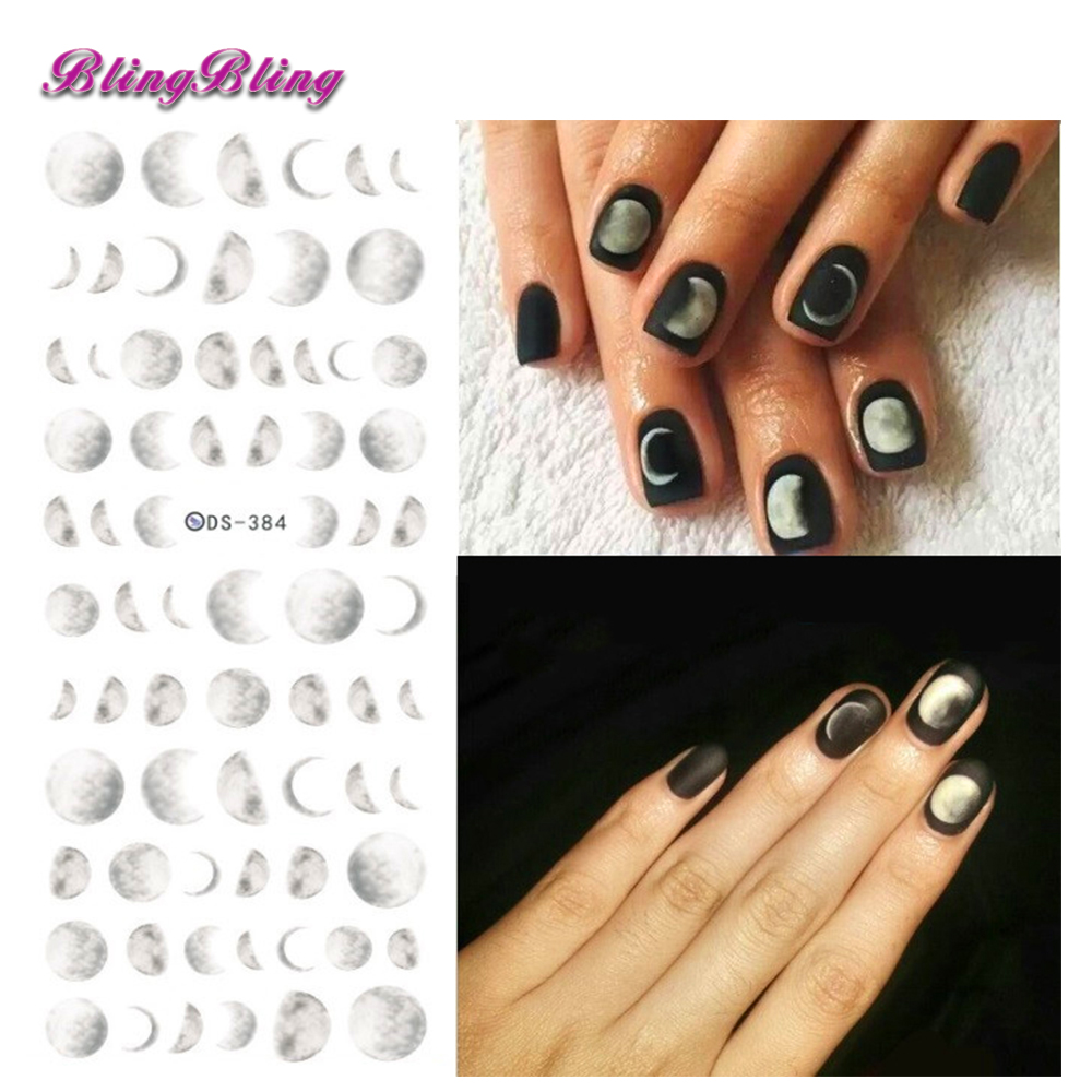 Blingbling 2pcs Moon Nail Stickers Moonlight Water Decals Moon Design DIY Nail Tips Manicure Decorations For Nails Accessories 30 pcs floral design manicure transfer nail art tips stickers decals 3d flowers beauty tickers for nails