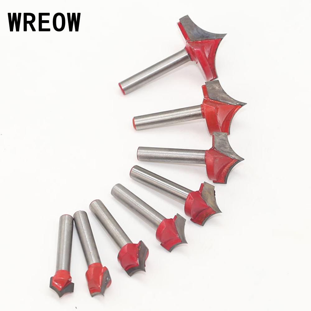 WREOW V Groove Milling Cutter Tool 6 Handle Double-edged Cutting Design Engraving End  Woodwork Round Shank Tip Mouth Mill