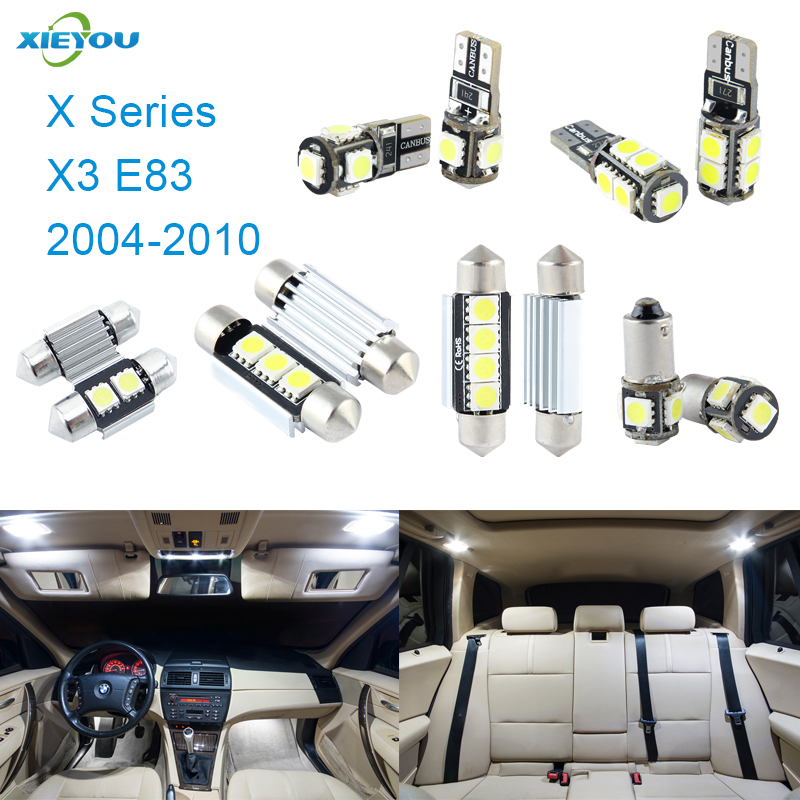 XIEYOU 13pcs LED Canbus Interior Lights Kit Package For BMW X Series X3 E83 (2004-2010) 17pcs led canbus interior lights kit package for bmw 5 series e60 e61 2004 2010