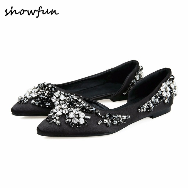 a34bfd9bd992e Women s silk rhinestone slip-on flats brand designer pointed toe spring new  comfortable female footwear ballet flats shoes women