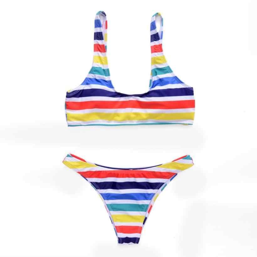 ผู้หญิงชุดว่ายน้ำ Happy Rainbow ลายบิกินี่สองชิ้นเซ็กซี่สีชมพูชุดว่ายน้ำลำลองชุดว่ายน้ำ Tops สำหรับฤดูร้อน Beach Party 18May11