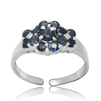 Qi Xuan_Fashion Jewelry_Dark Blue Stone Luxury Flower Rings_S925 Solid Sliver Fashion Rings_Manufacturer Directly Sale