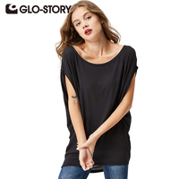 GLO STORY 2016 New Arrive Fashional Casual Loose Batwing Sleeve Summer Women T Shirt Solid O