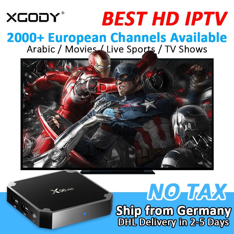 XGODY X96 Mini Smart TV Box Android 7.1 Nougat 2000+ Channel Arabic IPTV S905W Quad Core 2+16G Media Player TV Receiver Streamer
