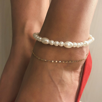 IngeSight.Z Bohemian Multi Layered Simulated Pearl Anklet Bracelet for Women Charm Ankle Chain Barefoot Sandals On Foot Jewelry 1