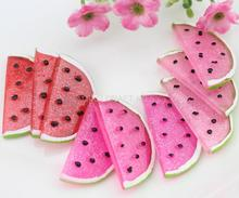 цена на mix order $10 set of 20pcs big watermelon slice Decoden Kawaii glitter Flatback Resin Cabochons 35mm free shipping