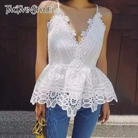 TWOTWINSTYLE Sexy Hollow Out Vest Top Female T shirt Floral V Neck Tunic High Waist Backless Irregular Spaghetti Strap Tops New
