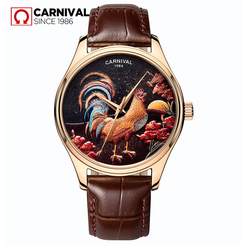 Carnival Luxury Rose Gold Automatic Watch Men Chicken Pattern Design Mens Mechanical Watches Leather Strap Wristwatches Clock sewor toubillon mechanical watch men gold genuine leather strap luxury automatic watches men clock male monphase wristwatches