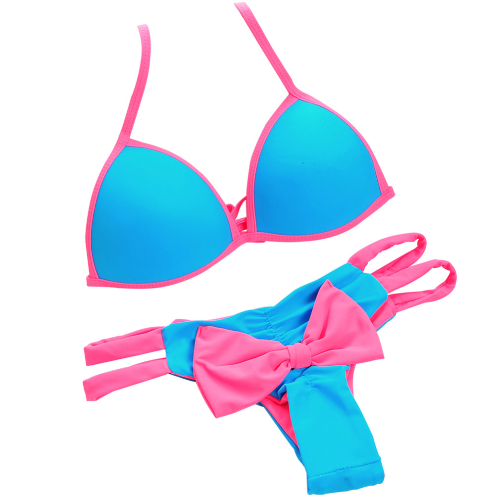 Hot! Women Push Up Sexy Brazilian Bikini Set Low Waist Swimwear Halter Bathing Tie at Back Bow Bottom Triangle Swimsuit 2016 halter push up sexy bikini set women brazilian tie at back summer beach sporty swimsuit strappy candy colors fardas 81614