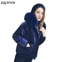 Winter New 2018 Women Thick Warm Jacket Velvet Short Section Duck Cotton Coat Female Fur Collar