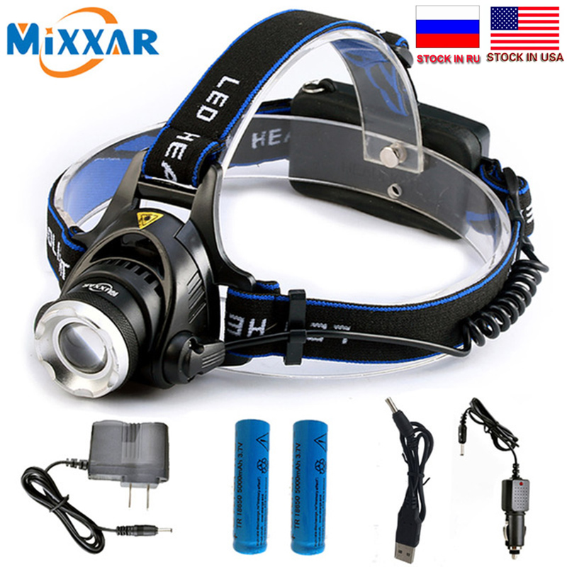C mixxar 6000LM L2 T6 Led Headlamp Zoomable Headlight Waterproof Head Torch flashlight Head lamp Fishing Hunting Light купить в Москве 2019