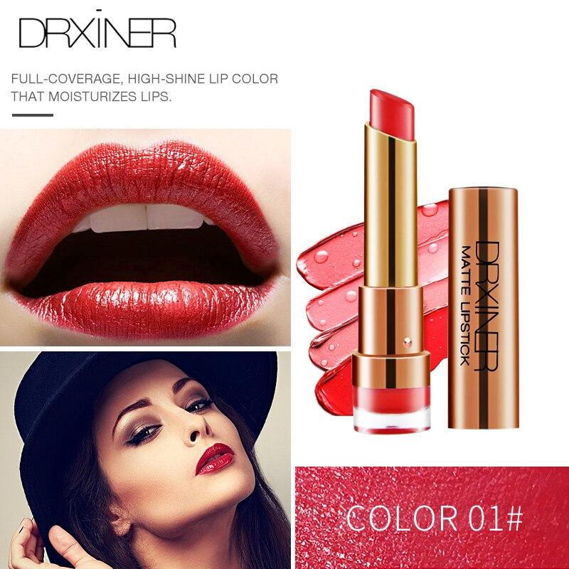 DRXINER Matte Lipstick New Rouge Matte Soft Creamy Moisturizing Lipstick Makeup Long Lasting Waterproof Velvet Smooth Beauty  3