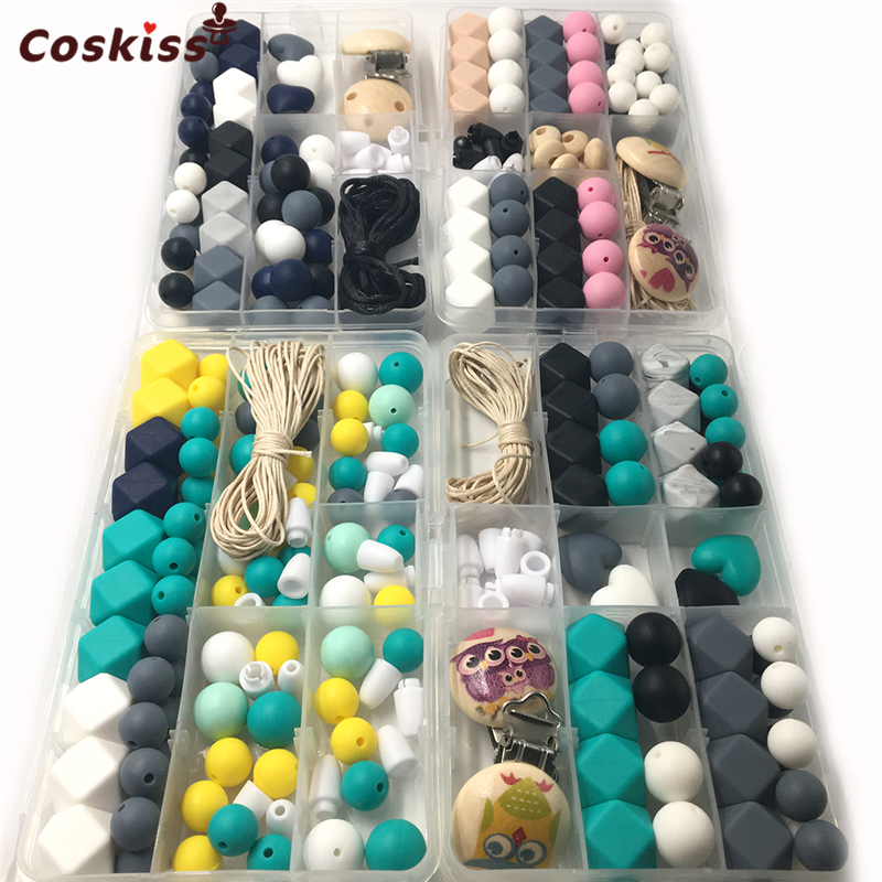 4 Boxes Baby Teether Toys Silicone Teething Pacifier Clip Kit Geometric Hexagon Silicone Teething Beads DIY Nursing Necklack