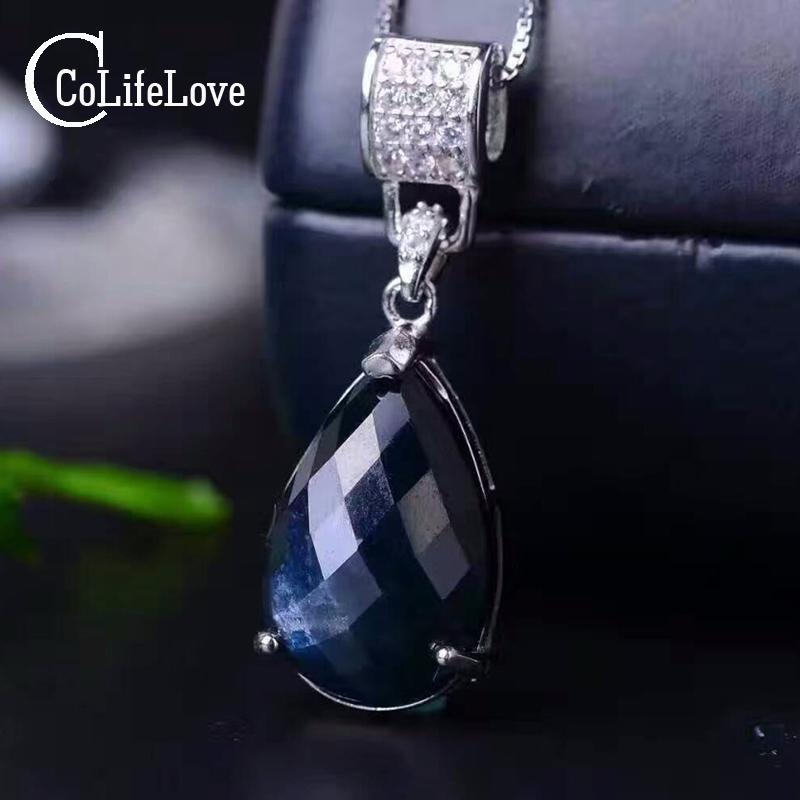 Luxurious natural sapphire pendant 10 15 mm pear cut black sapphire gemstone pendant solid 925 sterling
