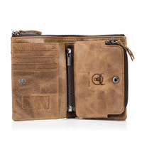 Genuine leather men wallet detachable coin pocket vintage hasp mens wallets with card holder luxury short zip coin purse for men