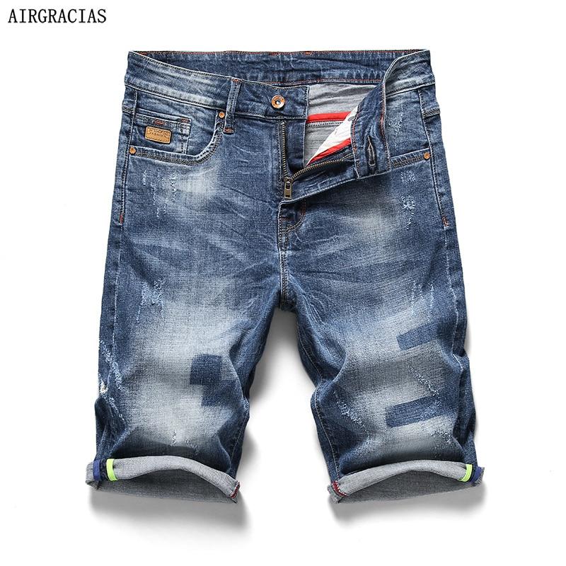 AIRGRACIAS 2018 New Arrive Shorts Men Jeans Brand-Clothing Retro Nostalgia Denim Bermuda Short For Man Blue Jean Size 28-40
