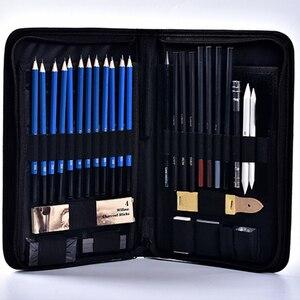 Image 4 - 40 pçs não deslizamento profissional para crianças presente esboçar lápis conjunto casa com zíper saco desenho arte suprimentos artigos de papelaria iniciante