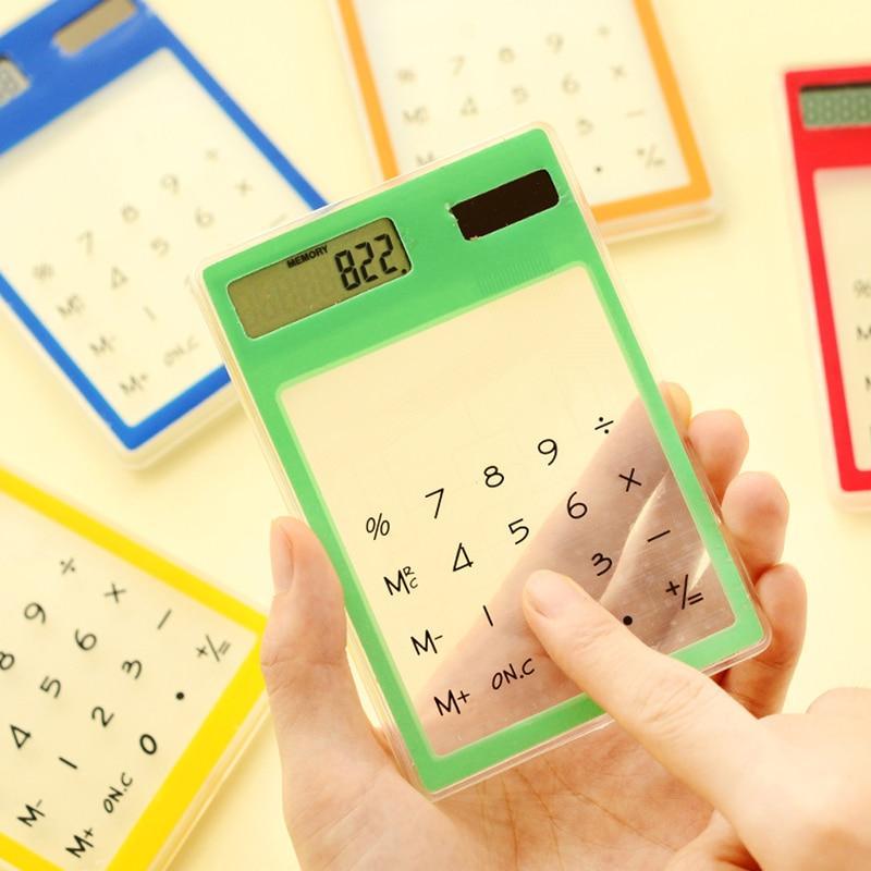 Ultra Slim Mini прозрачный солнечный калькулятор ЖК-дисплей Сенсорный экран 8-значный Калькуляторы