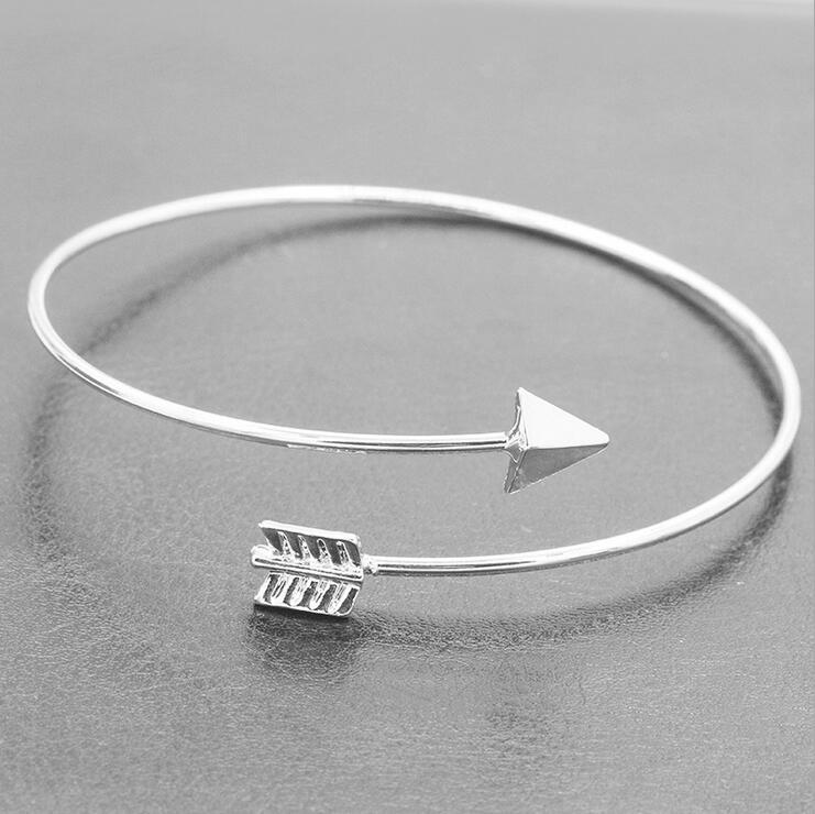 2016 New Bangles Bracelets Woman Lady Alloy Cupids Arrow Jewelry Golden/Slivery Romantic Gift Beautiful