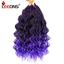Leeons 1-10Pcs Hot Sale Ombre Braiding Hair Kinky Twist Deep Wave Crochet Curly Hair Extensions 14 Inch Afro Kinky Curly Hair(China)