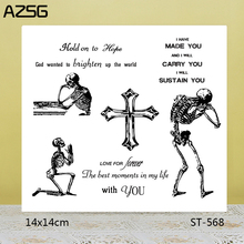 AZSG Happy Halloween Skeleton Cross Clear Stamps/Seals For DIY Scrapbooking/Card Making/Album Decorative Silicone Stamp Crafts