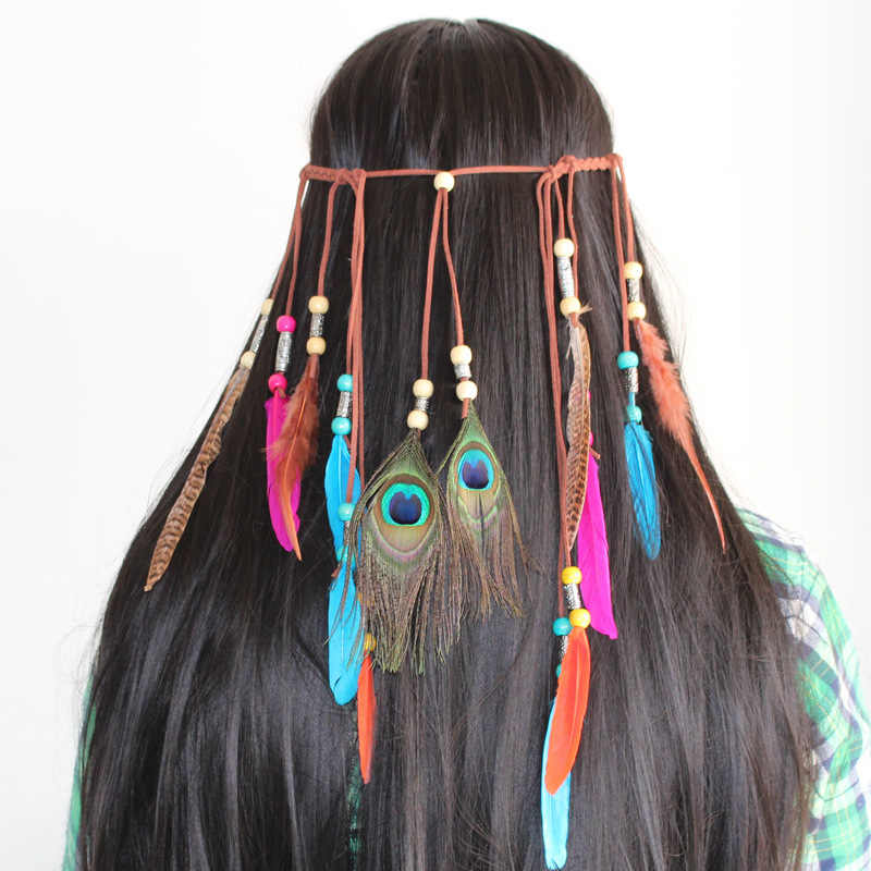 Модные красочные повязки для волос в стиле народного стиля с перьями женщин и