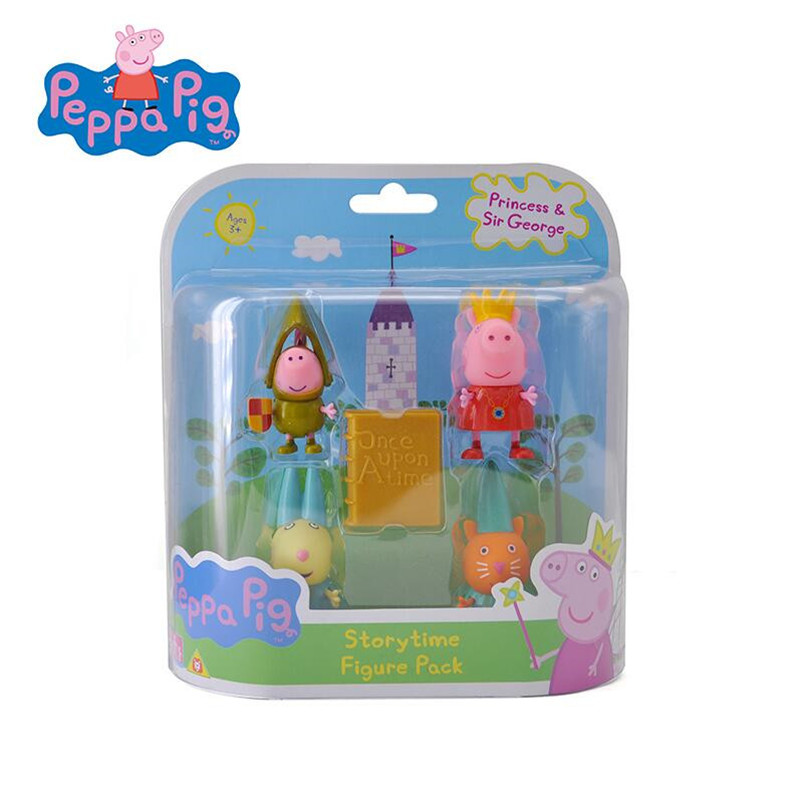 Peppa Pig Princess Peppas friends 4pcs/set action figure Toy George Rebecca Candy story time Figure pack kids toy