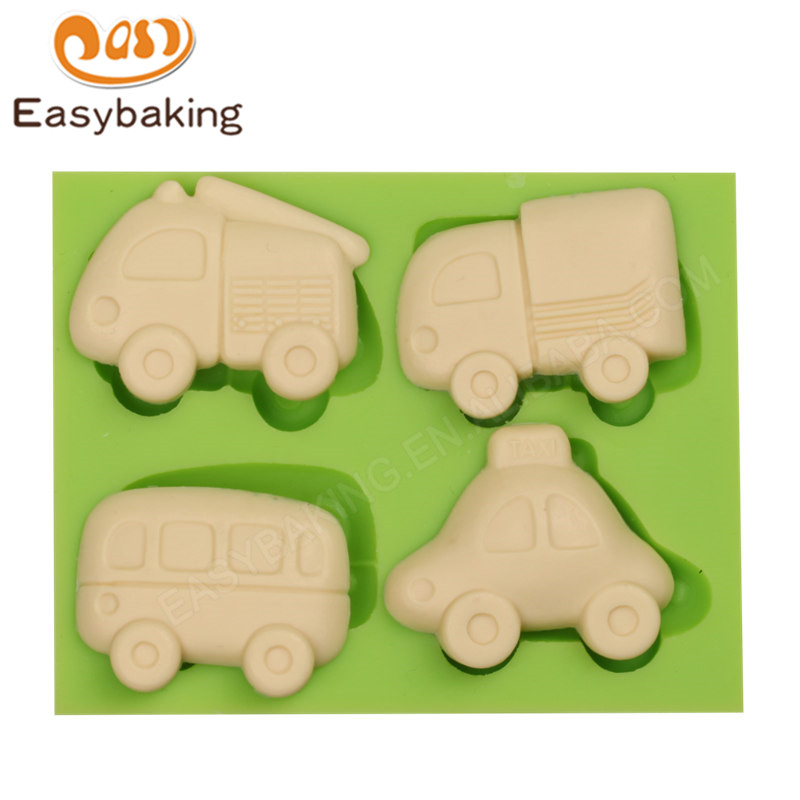 Popular Toys Mini Truck Bus Cars Flexible Silicone Mold Fondant Cake Decoration Food Safe Icing Resin Fimo Clay Chocolate Mould