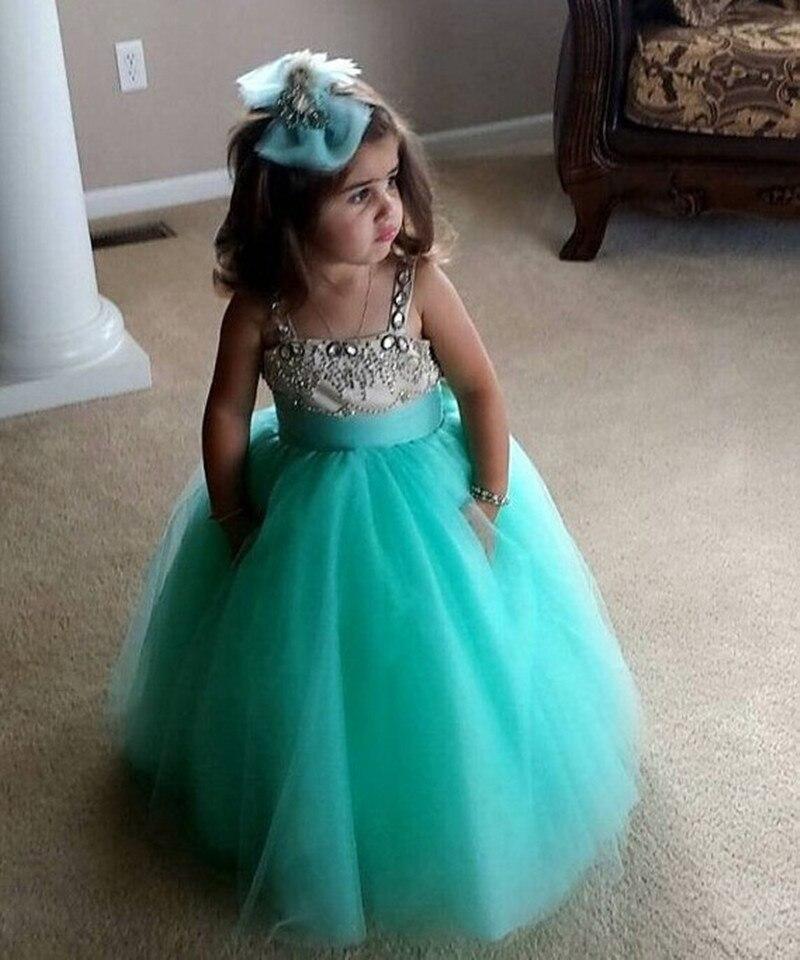 Lovely   Flower     Girl     Dress   Spaghetti Straps Tulle Beaded Floor Length Sparkling Little Princess Prom Gown for Wedding Party