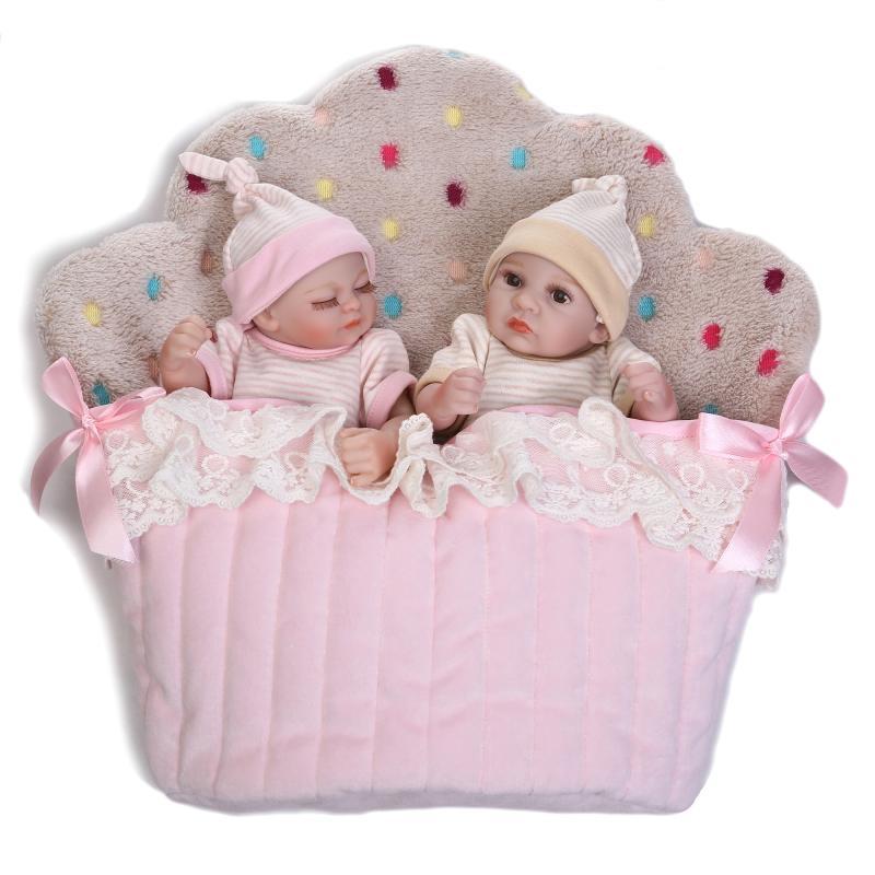 26cm Cute Mini Twins Reborn Baby Dolls 10 Inches Full