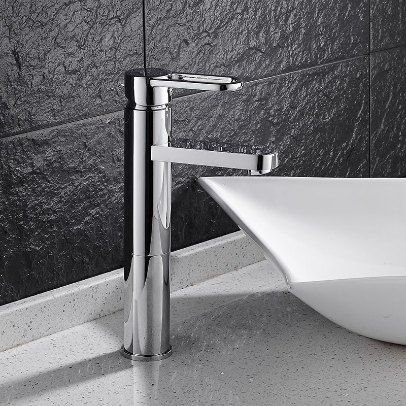 Free Shipping Luxury basin faucet high quality brief water tap chrome single lever hot and cold bathroom basin tall sink mixer micoe hot and cold water basin faucet mixer single handle single hole modern style chrome tap square multi function m hc203