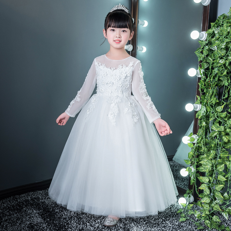 Exquisite  Long Sleeve Performance Flower Girl Dress Children Kids Spring Floral Pageant Birthday Communion Party Wedding DressExquisite  Long Sleeve Performance Flower Girl Dress Children Kids Spring Floral Pageant Birthday Communion Party Wedding Dress