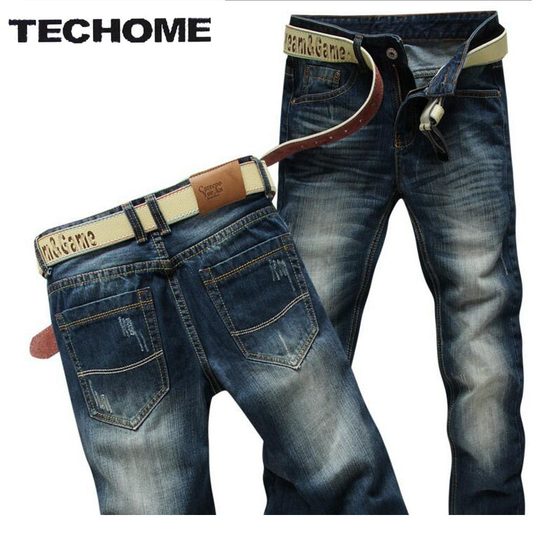 Brand TECHOME 2016 New Autumn Summer Fashion Men Jeans Straight Slim Casual Mens Jeans Men Pants Cotton Men Clothing Trousers autumn new arrival 2017 jeans pants afs jeep elastic mens straight men black mid risef slim fit men s casual fashion men s jeans
