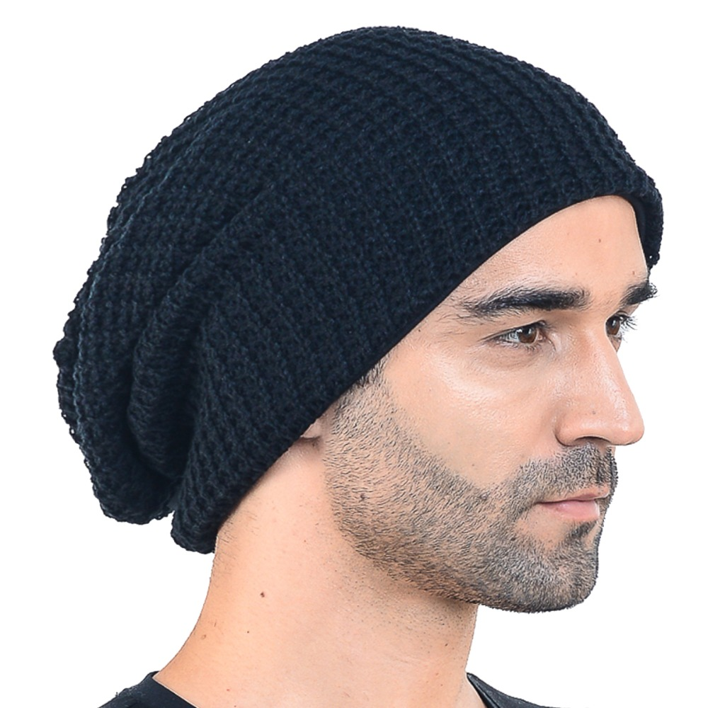 Men Slouch Knitted Beanie Large Skullcap Daily Cap Lined Hat FORBUSITE mens summer cap thin beanie cool skullcap hip hop casual hat forbusite