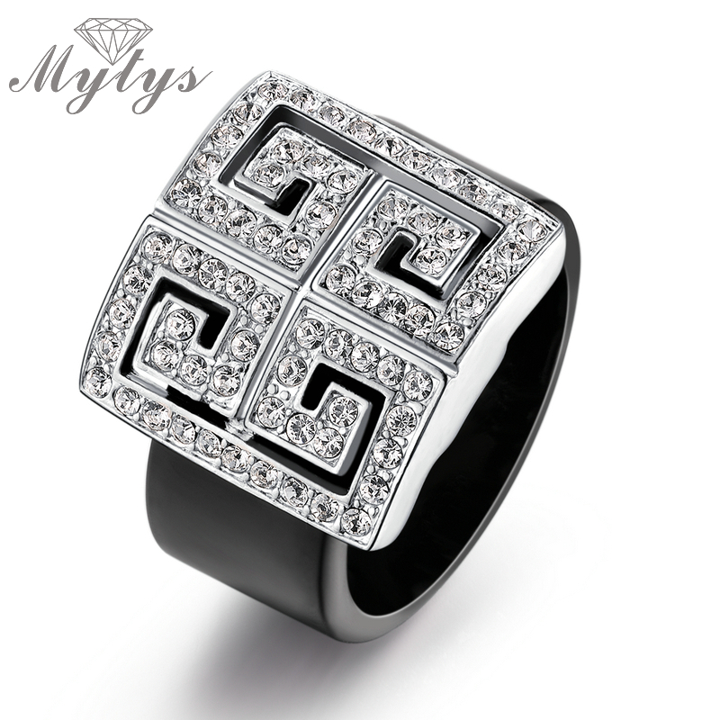 Mytys NEW Arrival Classic Cubic Zircon Setting Totem Black Acrylic Fashion Jewelry Geometric Patten Ring for Women R510 R511 geometric sun totem engraved jewelry set