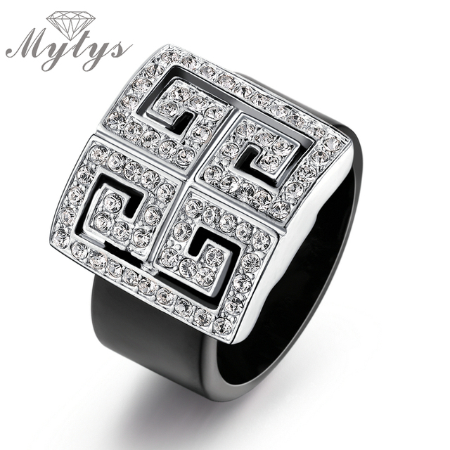 Mytys NEW Arrival Classic Cubic Zircon Setting Totem Black Acrylic Fashion Jewel