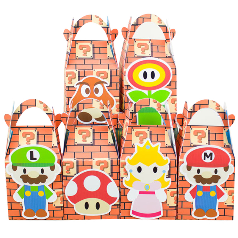 Mario Bros Favoritlåda Candy Box Presentförpackning Cupcake Box Boy Kids Födelsedagsfest Supplies Decoration Event Party Supplies